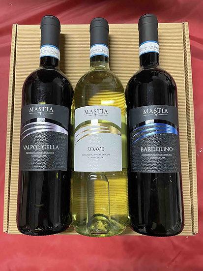 Valpolicella + Soave + Badolino MASTIA confezione da 3 scatola cartone