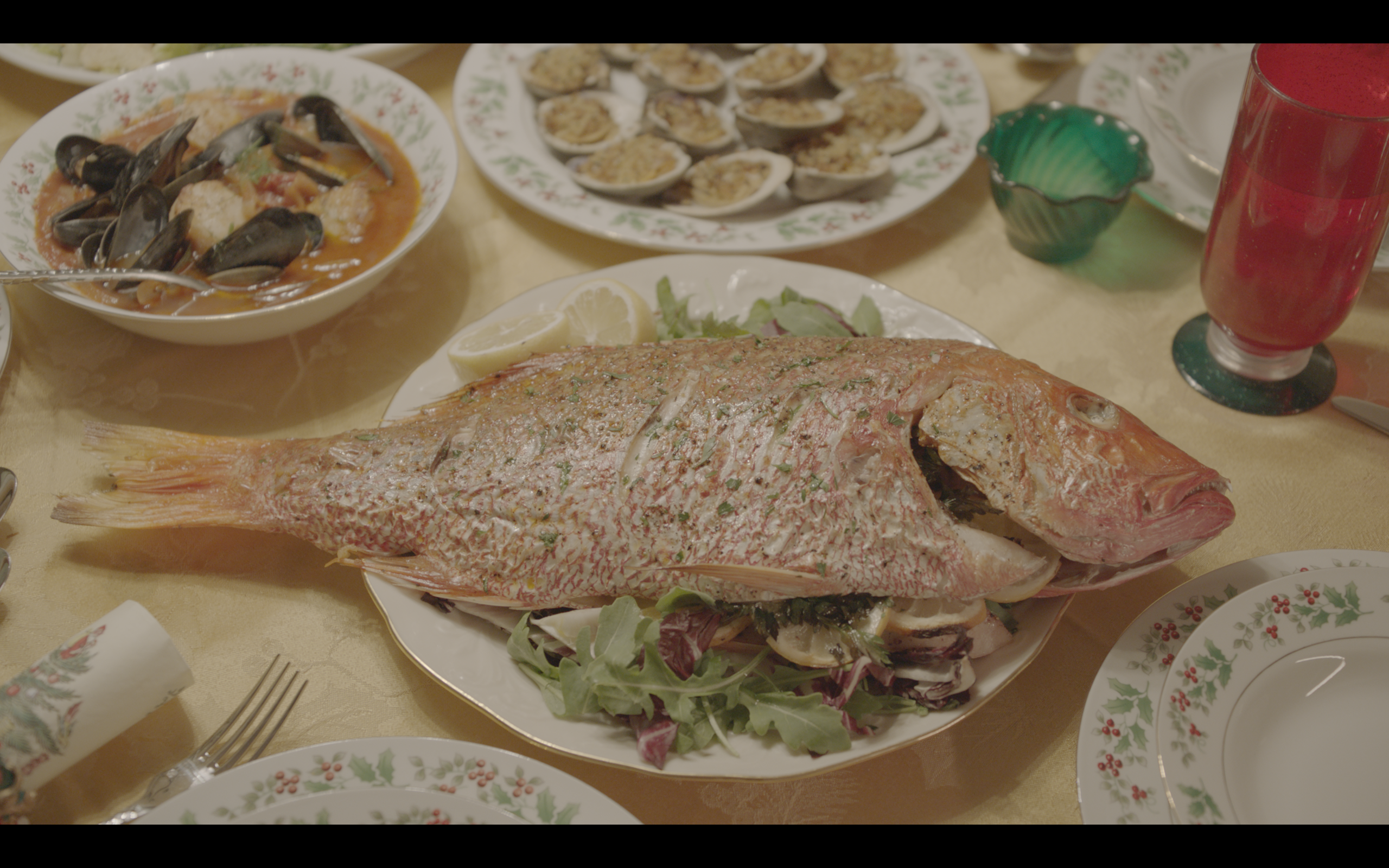 Seven Fishes (still from set)