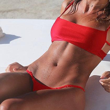Left on Red Bikini Top