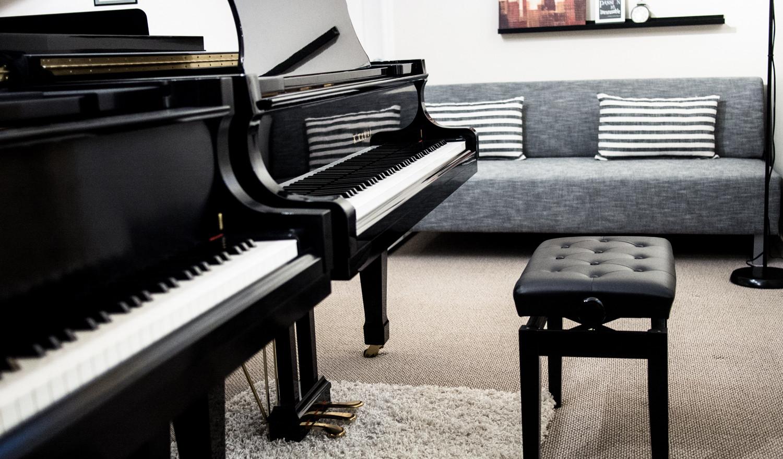 Boston and Kawai grand pianos in studio