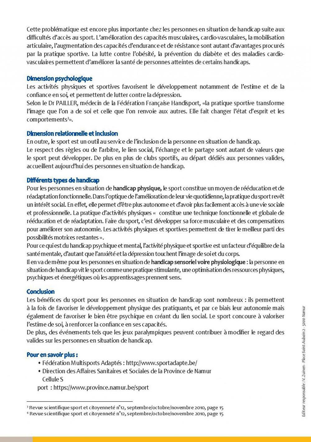 Billet de santé de la Province de Namur