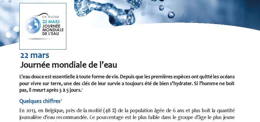 Billet Santé: Journée Mondiale de l'eau