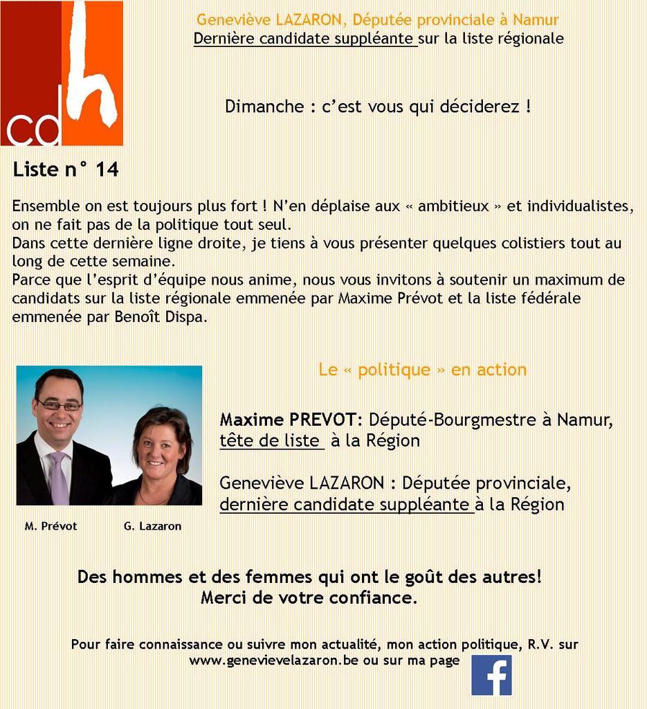 CDH - élections 2014 Namur