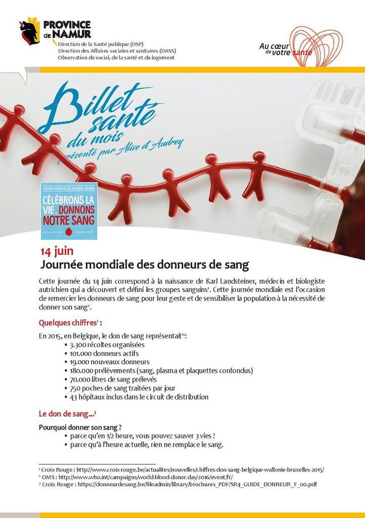 Billet de santé Province de Namur