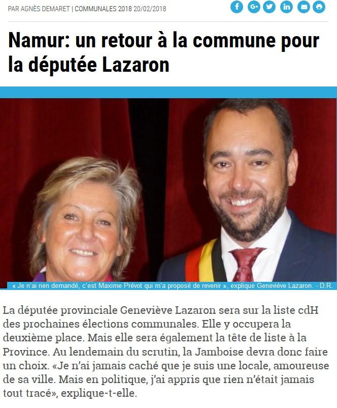Article journal La Meuse - G. Lazaron M. Prévot