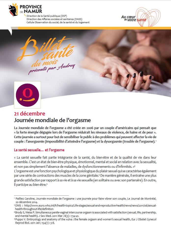 Journée mondiale de l'orgasme - billet santé