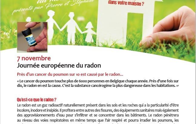 Le billet de santé du mois de novembre de la Province de Namur: le Radon