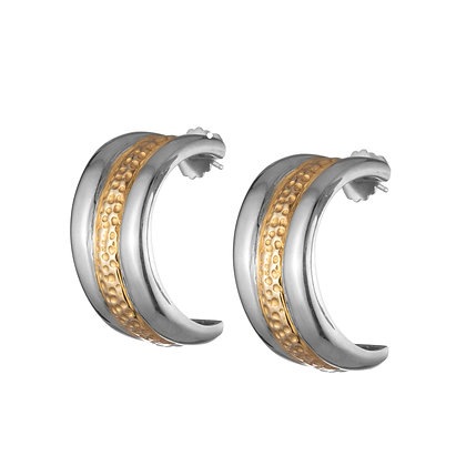 Trinity Stack Semi Hoops | Silver & Gold