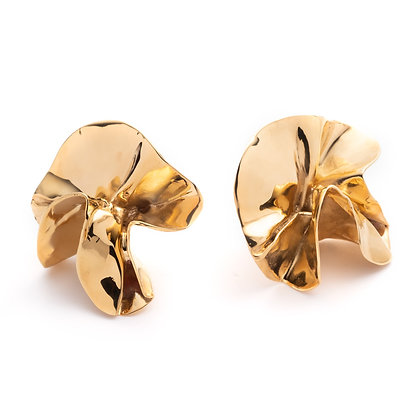 Delphinium Folded Earrings | Mirror Gold