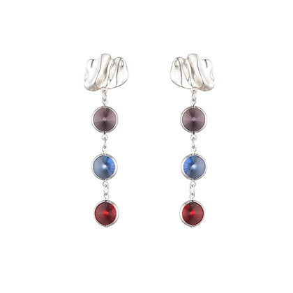 Multicolor Crystal Earrings | Silver