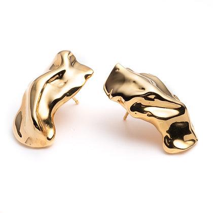 Molten Stud Earrings | Mirror Gold