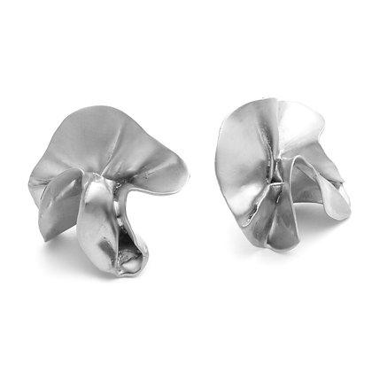 Delphinium Folded Earrings | Satin Silver
