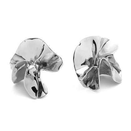 Delphinium Folded Earrings | Mirror Silver