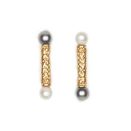 Lithop Bar Pearl Earrings | Gold
