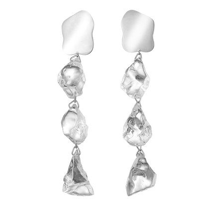 Lucite Rock Candy Earrings | Silver
