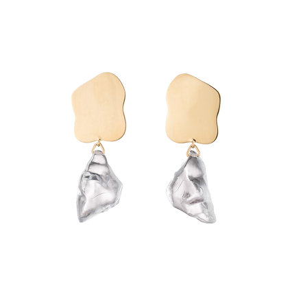 Lucite Nugget Drop Earrings | Gold