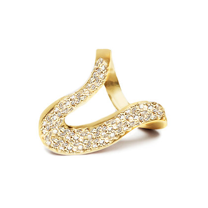 Pavé Diamond Wave Ring | 18-Karat Gold