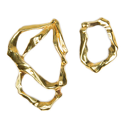 Mismatched Molten Earrings | Gold