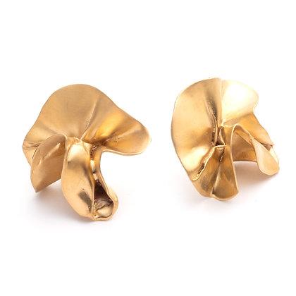 Delphinium Folded Earrings | Satin Gold