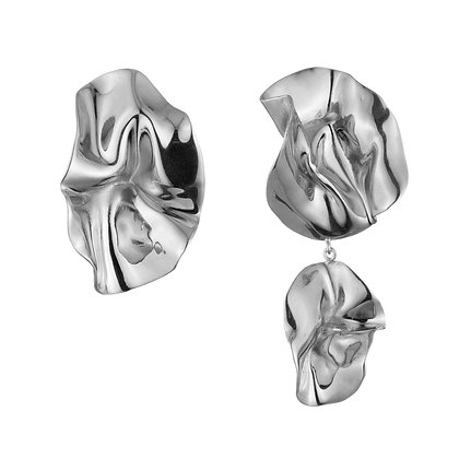 Mismatched Fold Earrings | Sterling Silver