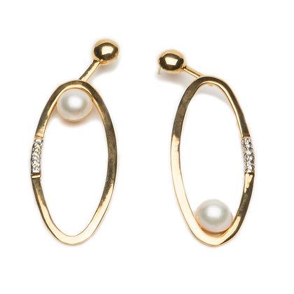 Pearl Ellipse Earrings | Gold