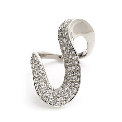 Pavé Diamond Wave Ring | 18-Karat White Gold