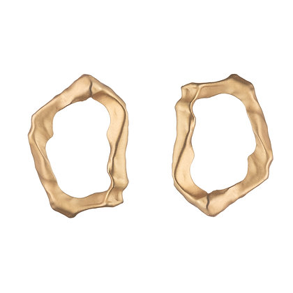 Molten Loop Earrings | Satin Gold
