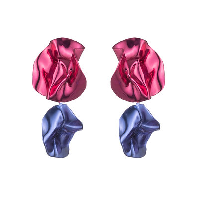 Flashback Fold Earrings   Fuchsia + Cobalt Blue