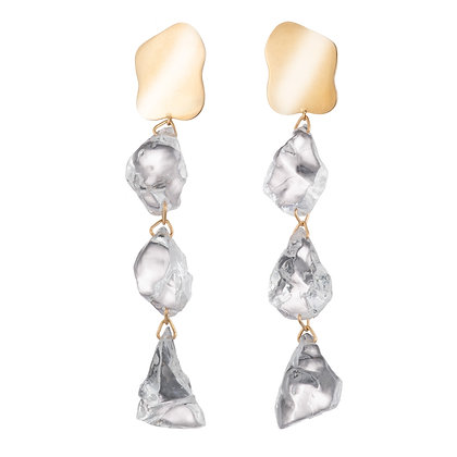 Lucite Rock Candy Earrings | Gold