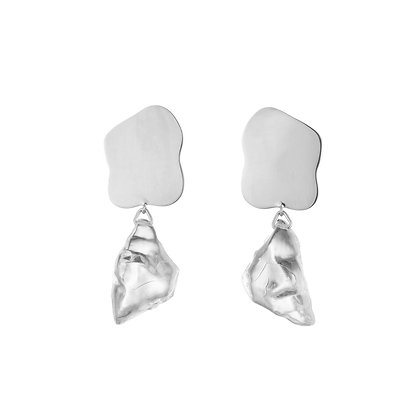 Lucite Nugget Drop Earrings | Silver