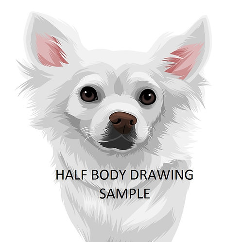 Pet Drawing Vector Style Cartoon from your pic (HALF-BODY Drawing)