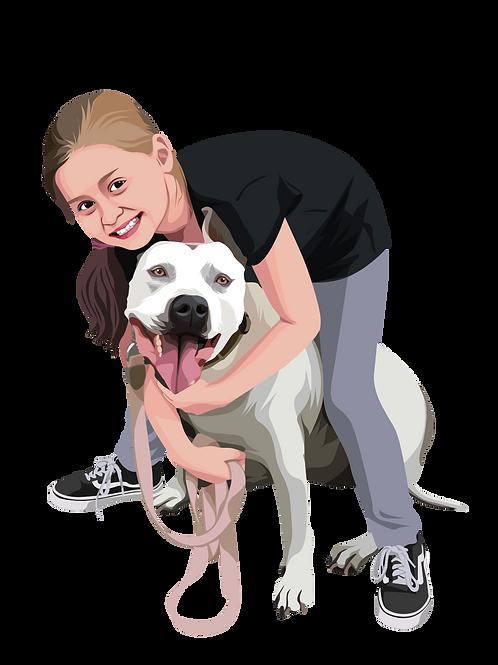 Pet and Owner Cartoon (cute dog or cat)