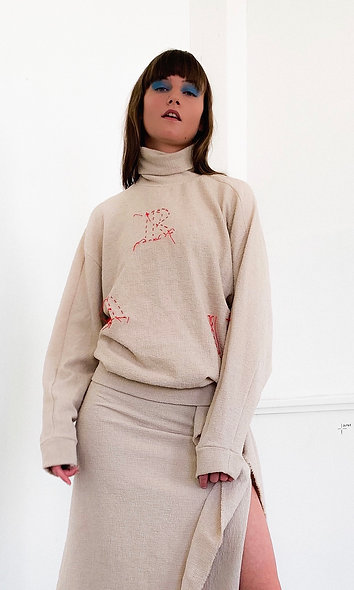 Red Thread Embroidery Pullover