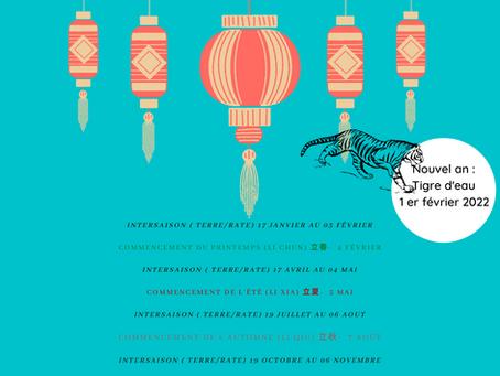 2022 : Date des saisons et intersaisons selon le calendrier chinois traditionnel - nouvel an chinois