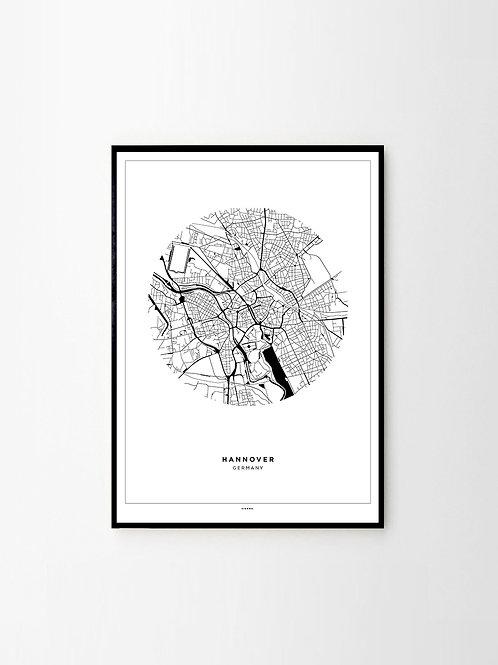 City Map Poster Hannover City Stadtplan Print Schwarz Weiß