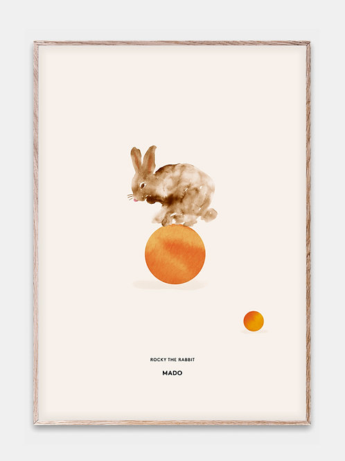 Paper Collective Poster MADO Kinder Bilderrahmen Rahmen Hase Ball Orange