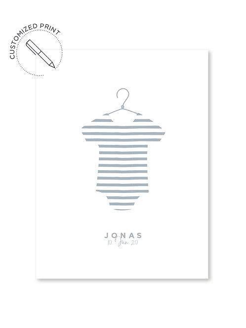 Personalisiertes Custom Poster Print im Moebe Frame Bilderrahmen mit Babybody für Jungs zur Geburt