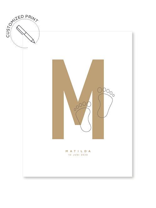 Personalisiertes Custom Poster Print mit Typografie und Fußabdruck zur Geburtals Geschenk