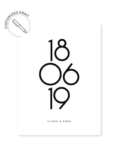 Personalisierter Print - Numbers zur Hochzeit