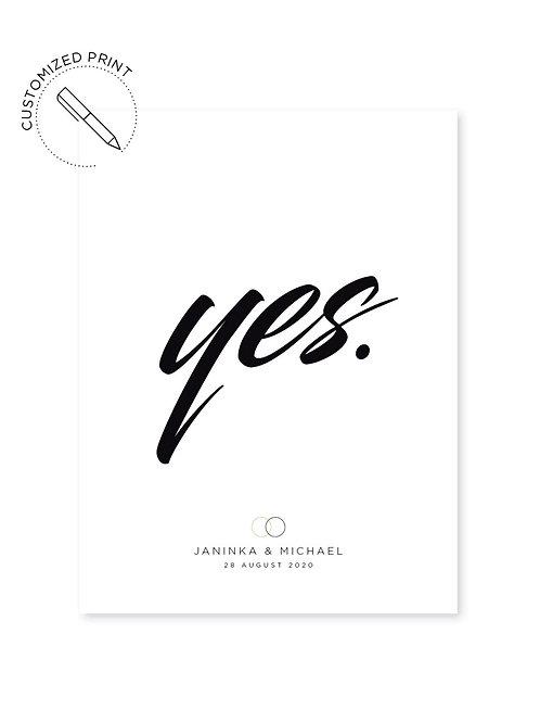Personalisierter Print - Yes! zur Hochzeit