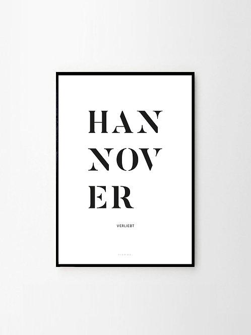 Hannover Poster mit Schrift in Schwarz Weiß