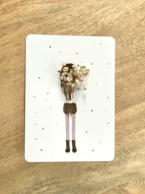 """Postkarte """"LE GROS BOUQUET"""" mit getrockneten Blüten"""