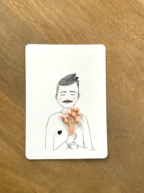 "Postkarte ""L""amoureux"" mit getrockneten Blüten"