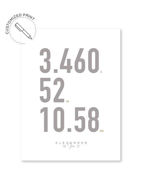 Personalisiertes Custom Poster Print im Moebe Frame Bilderrahmen mit Geburtsdaten als Geschenk zur Geburt