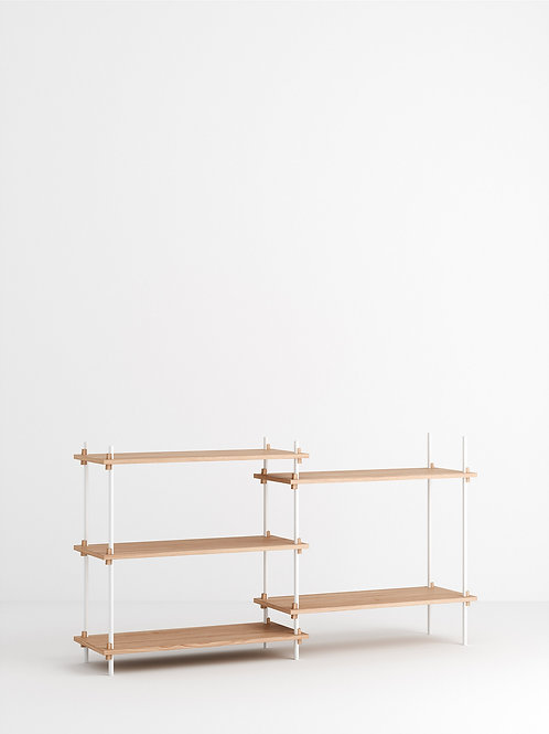 MOEBE Shelving System - Low Double Eiche geölt Weiss