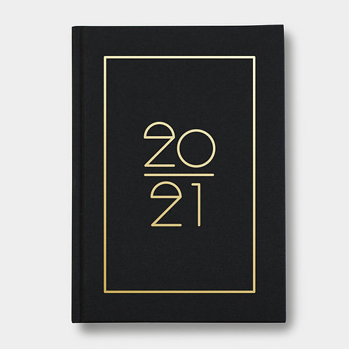 Navucko Hardcover Kalender Jahreskalender 2021 für Termine Schwarz