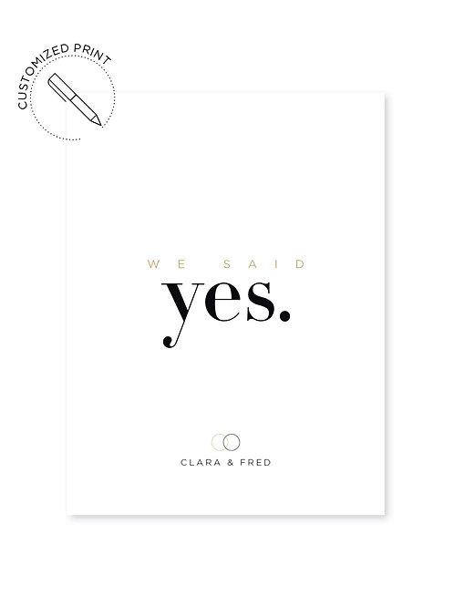 Personalisierter Print - Said Yes Gold zur Hochzeit