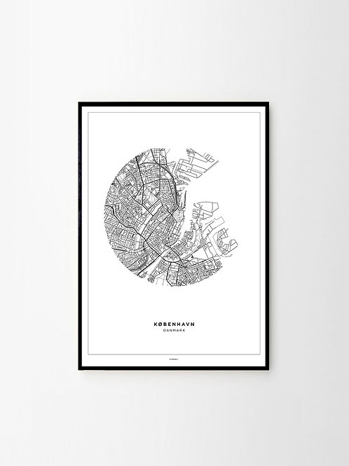 City Map Poster Kopenhagen City Stadtplan Print Schwarz Weiß