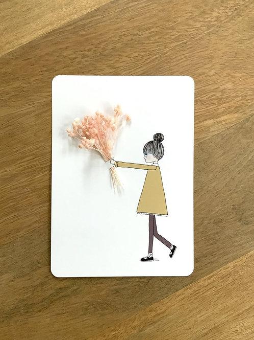 "Postkarte ""TIENS"" mit getrockneten Blüten"