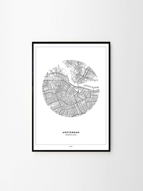 City Map Poster Amsterdam City Stadtplan Print Schwarz Weiß